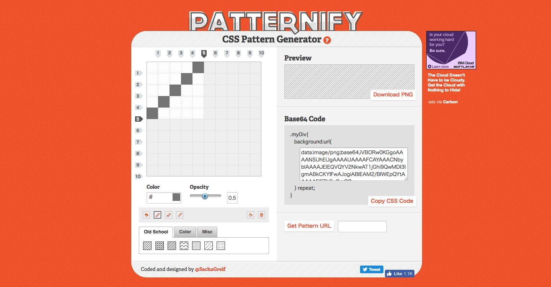 細かいドットや斜線背景をCSSで手軽に作成できる – Patternfy